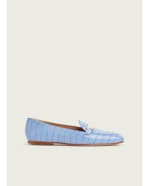 Primrose Blue Croc-Effect Leather Loafers, Hyacinth