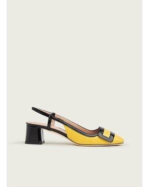 Hilary Yellow & Black Leather Block Heel Slingbacks, Sherbet