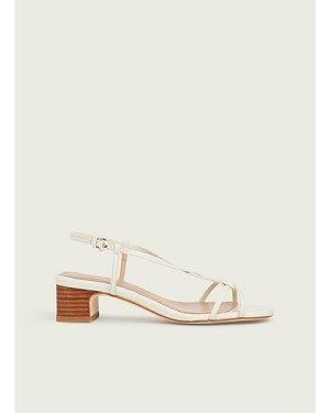 Sabrina White Leather Plaited Sandals, White