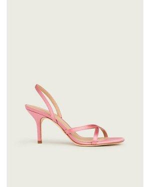 Noon Pink Satin Strappy Sandals, Pink