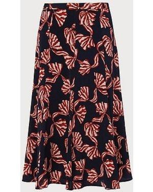 Mortimer Navy Bow Print Silk Skirt, Navy