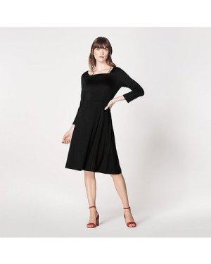 Erin Black Jersey Fit & Flare Dress, Black
