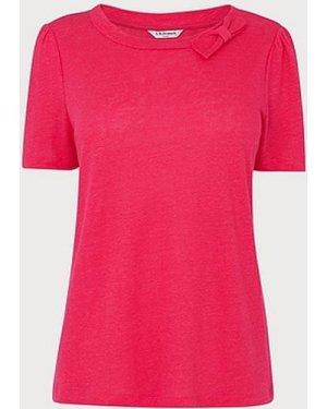 Jane Pink Linen T-Shirt, Bright Pink