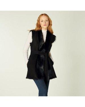 Nellie Black Sheepskin Gillet, Black