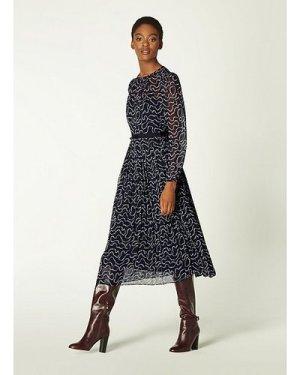 Avery Navy & Cream Pearl Print Pleated Midi Dress, Midnight