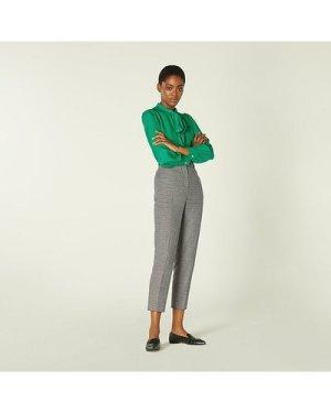 Nina Black & White Dogtooth Tailored Trousers, Cream