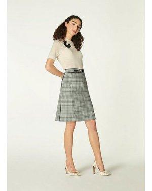 Faye Green Check Cotton-Blend A-Line Skirt, Green