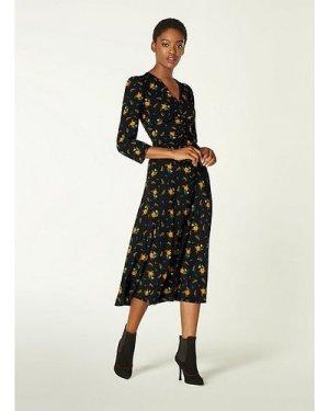 Gabrielle Black Floral Print Stretch Silk Midi Dress, Multi