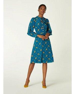 Maddux Teal Floral Print Silk Dress, Teal
