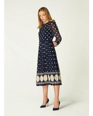 Avery Blue & Cream Spot Print Pleated Midi Dress, Navy