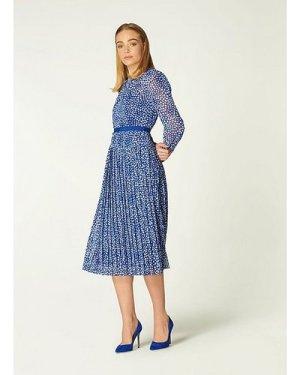 Avery Blue and Cream Heart Print Pleated Midi Dress, Blue