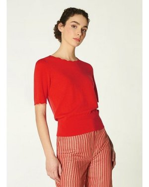 Clover Red Merino Wool Scallop Knit Top, Tomato