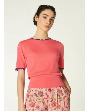 Clover Pink Merino Wool Scallop Knit Top, Pink