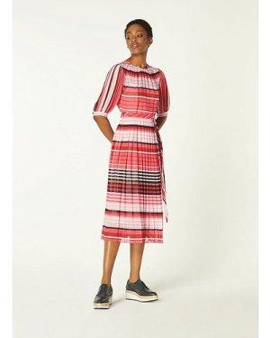 Basett Pink Striped Pleated Georgette Dress, Pink