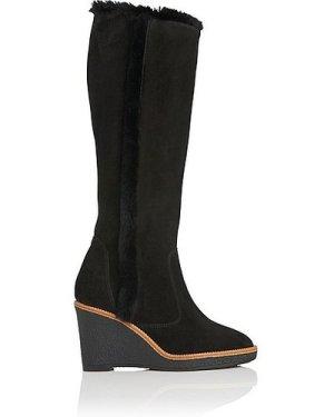 Margie Black Suede Knee Boots, Black