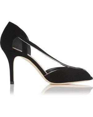 Liya Black Suede Sandals, Black