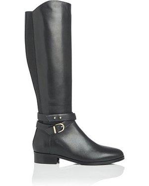 Kora Black Leather Knee Boots, Black
