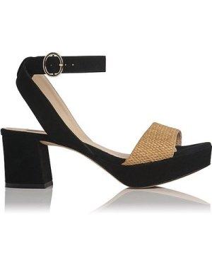 Alie Black Suede Sandals, Natural Black
