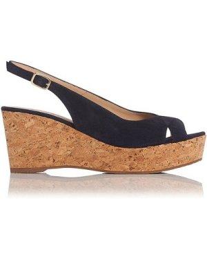 Marcia Navy Suede Sandals, Navy