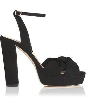 Annabella Black Suede Sandals, Black