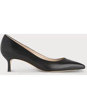 Audrey Black Leather Kitten Heel Courts, Black