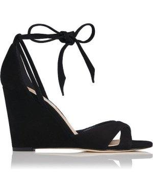 Henrietta Black Suede Sandals, Black