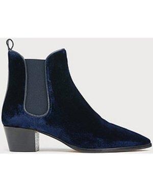 Becky Navy Velvet Ankle Boots, Navy