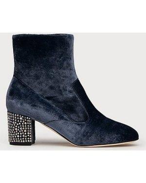 Phoebe Blue Velvet Ankle Boots, Powder Blue