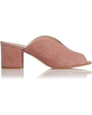 Jagoda Dark Pink Suede Block Heel Mules, Dark Pink