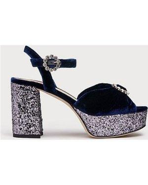 Eline Navy Velvet Sandals, Navy