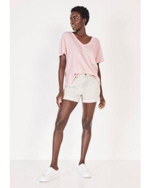 hush soft-pink Deep V Linen Blend Tee Soft Pink