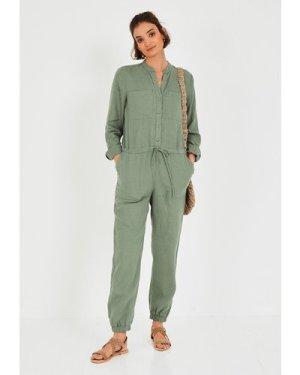 hush khaki-green Washed Linen Jumpsuit Black