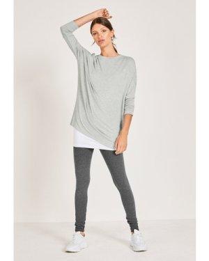 hush grey-marl Wide Jersey Top Grey Marl