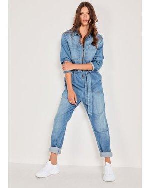 hush washed-blue Joanie Denim Boiler Suit Washed Blue
