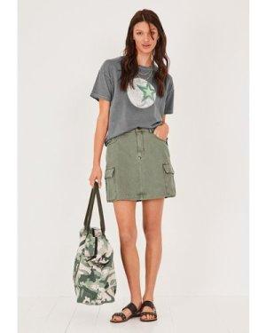 hush washed-green Chiara A-Line Mini Skirt Khaki