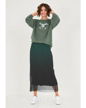 hush khaki-black Ombre Mesh Midi Skirt Green