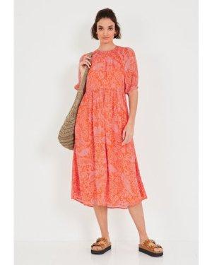 hush paisley-orange-pink Rory Smocked Midi Dress Pink/orange
