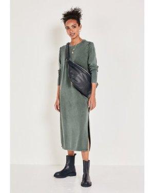 hush washed-khaki Sweatshirt Midi Dress Washed Green