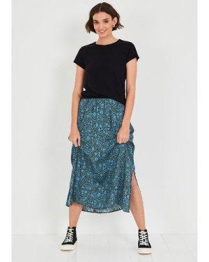 hush floral-blue-black Santana Printed Midi Skirt Blue/green floral