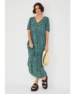 hush floral-animal Penelope Tiered Dress Blue/green floral