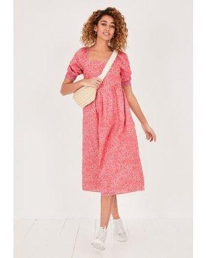 hush floral-animal-pink-ecru Eden Square Neck Midi Dress Pink/Beige floral