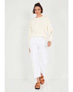 hush ecru-off-white Byron Relaxed Sweatshirt White