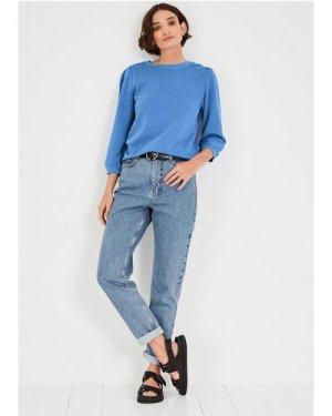 hush washed-classic-blue Tiffany Cotton Sweatshirt Blue