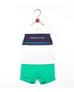 Cotton shorts with turn ups CARREMENT BEAU NEWBORN BOY