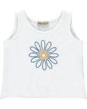 Sequin Embroidered Flower Vest Top