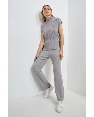 Karen Millen Eyelet Knit Jogger -, Grey Marl