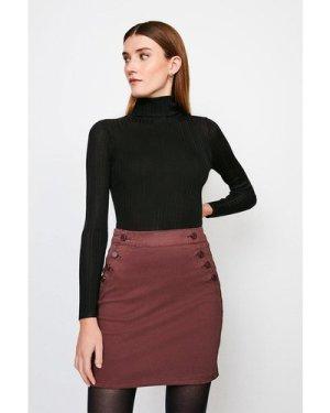Karen Millen Stretch Twill Button Detail Skirt -, Brown