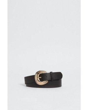 Womens Oversized Line Detail Buckle Belt