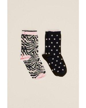 Womens Animal And Star 2 Pack Socks