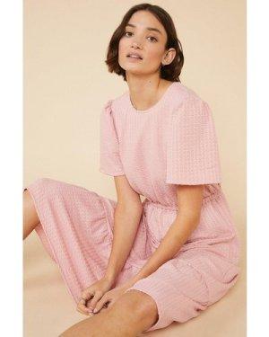 Womens Tiered Textured Midi Dress